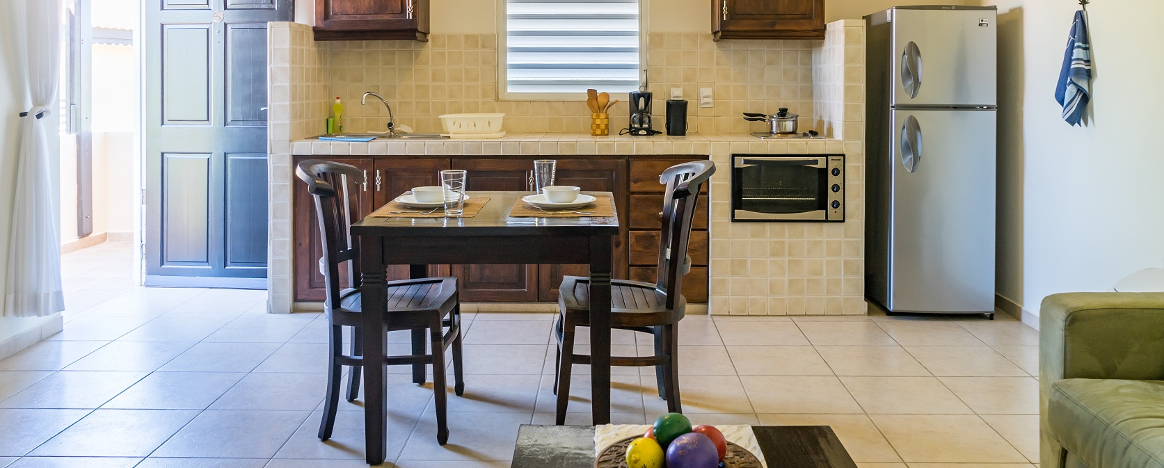 each apartment features its own kitchenette